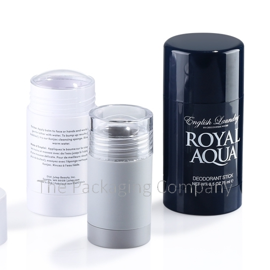 Round Deodorant Containers in Acrylonitrile Styrene, or Polypropylene (6-75 ml) custom design with PMS color, finish, & printing (silkscreen, hot stamp)