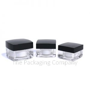 Square Double walled Jar (5-50 ml); with Custom Printing