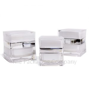Square acrylic cream jar with diamond texture top (15, 30, 50 ml); with Custom Printing and Finish (15, 30, 50 ml)