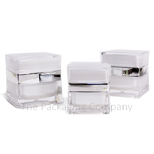Square acrylic cream jar with diamond texture top (15, 30, 50 ml); with Custom Printing and Finish (15, 30, 50 ml)