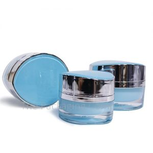 Leaf shape cosmetic jar (15, 30, 50 ml); with Custom Printing and FInish
