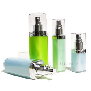 Square acrylic cosmetic bottle with serum pump - The Packaging Company