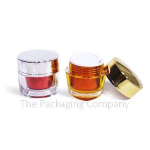Triangular Base Acrylic double walled Jar (15 & 50 ml); with Custom Printing and Finish