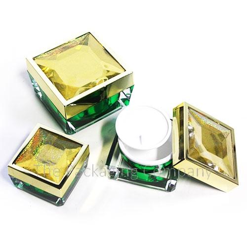 Square acrylic cream jar with diamond texture top (15, 30, 50 ml); with Custom Printing and Finish