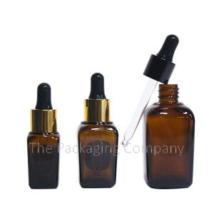 Square glass dropper bottles; with Custom Design and Finish; 10-50 ml Sizing
