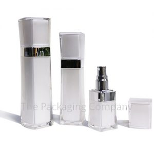 Square acrylic double walled serum bottle (30, 60, & 120 ml)
