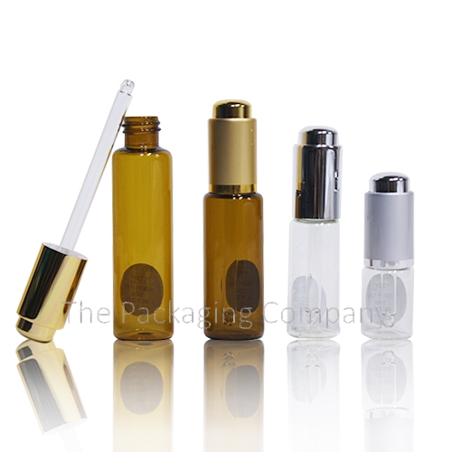 push button dropper bottle in various sizes and colors