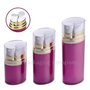 dual chamber airless bottle, silkscreen and hot stamp dual chamber airless bottle