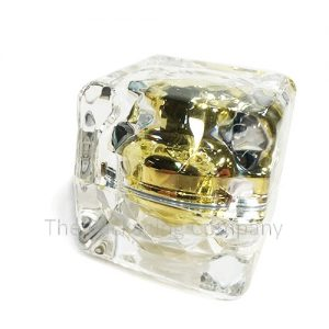 Acrylic Square Jar with Diamond Cut in gold