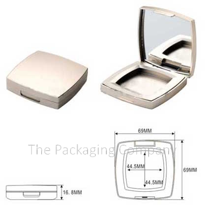 Compact Square Powder custom design with PMS color, finish, & printing (silkscreen, hot stamp)