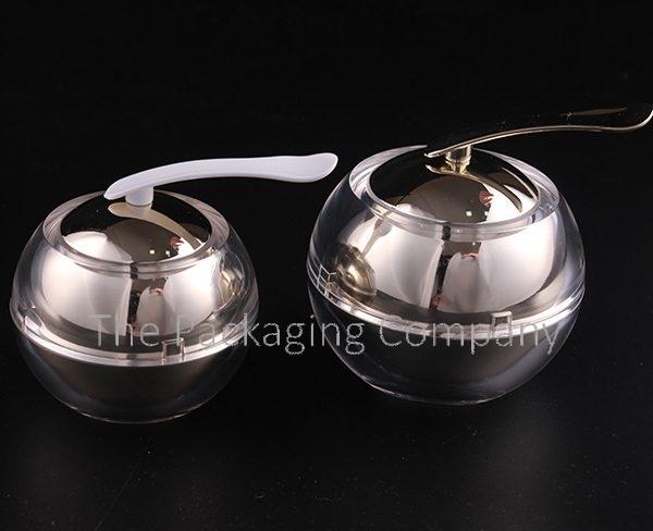 Acrylic Ball Shaped Jar with Applicator (30 & 50 ml); with Custom Printing and Finish.