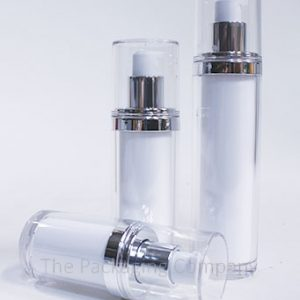 Airless Bottles Double Walls in Acrylonitrile Styrene or Polypropylene (15, 30, & 50 ml); Custom Finish and Printing