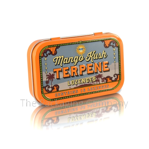 front view of rounded rectangle tin container