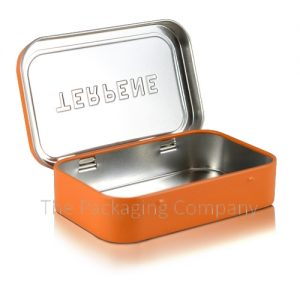 Inside view of rounded rectangle tin container