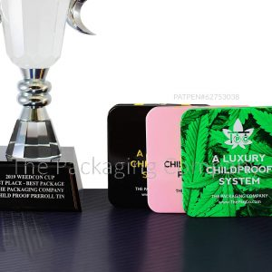 Child Resistant Tins with Award Winning Trophy