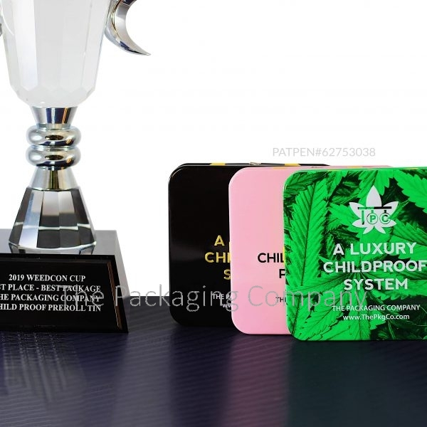 Child Resistant Tins for prerolls with best packaging award trophy