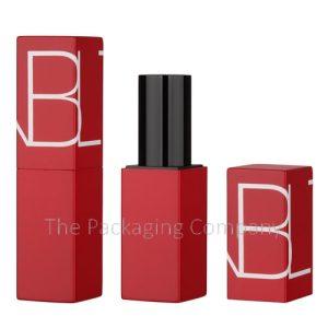Square Aluminum Lipstick Case Magnetic Closure; Custom Finish and Printing