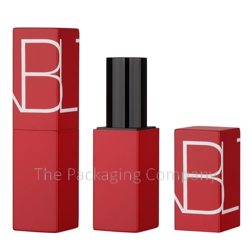 Square aluminum lipstick case with magnetic closure