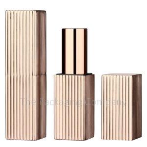 Square Aluminum Lipstick Case Magnetic Closure Ribbed Design; Custom Finish and Printing
