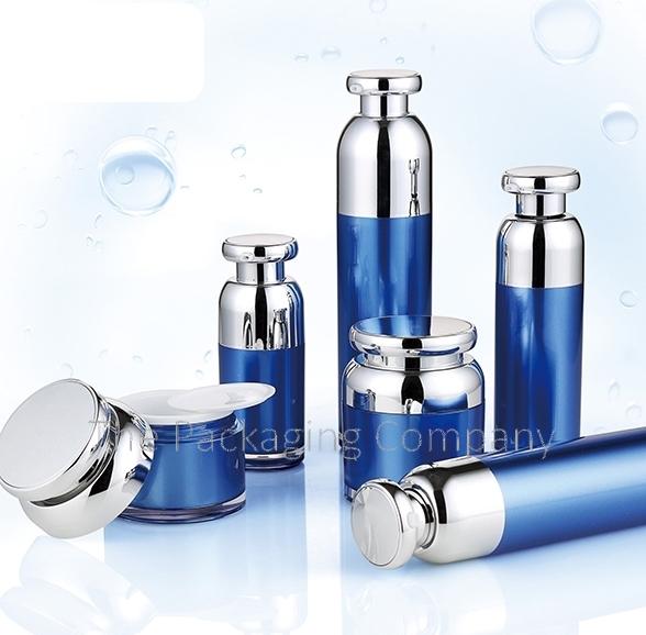 blue airless pump bottles and jar set