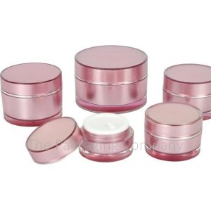 Acrylic Cosmetic Jar Set n pink