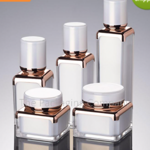 Square airless bottle and jar