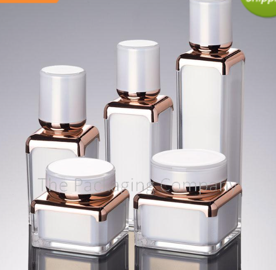 Gold and white Square airless bottles and jars