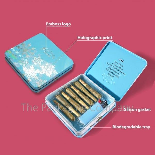 Child resistant tin box